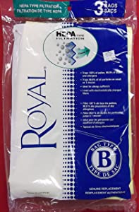 Royal Vacuum Cleaner Type B HEPA Bags - 3 Bags [Kitchen] [Kitchen] [Kitchen]