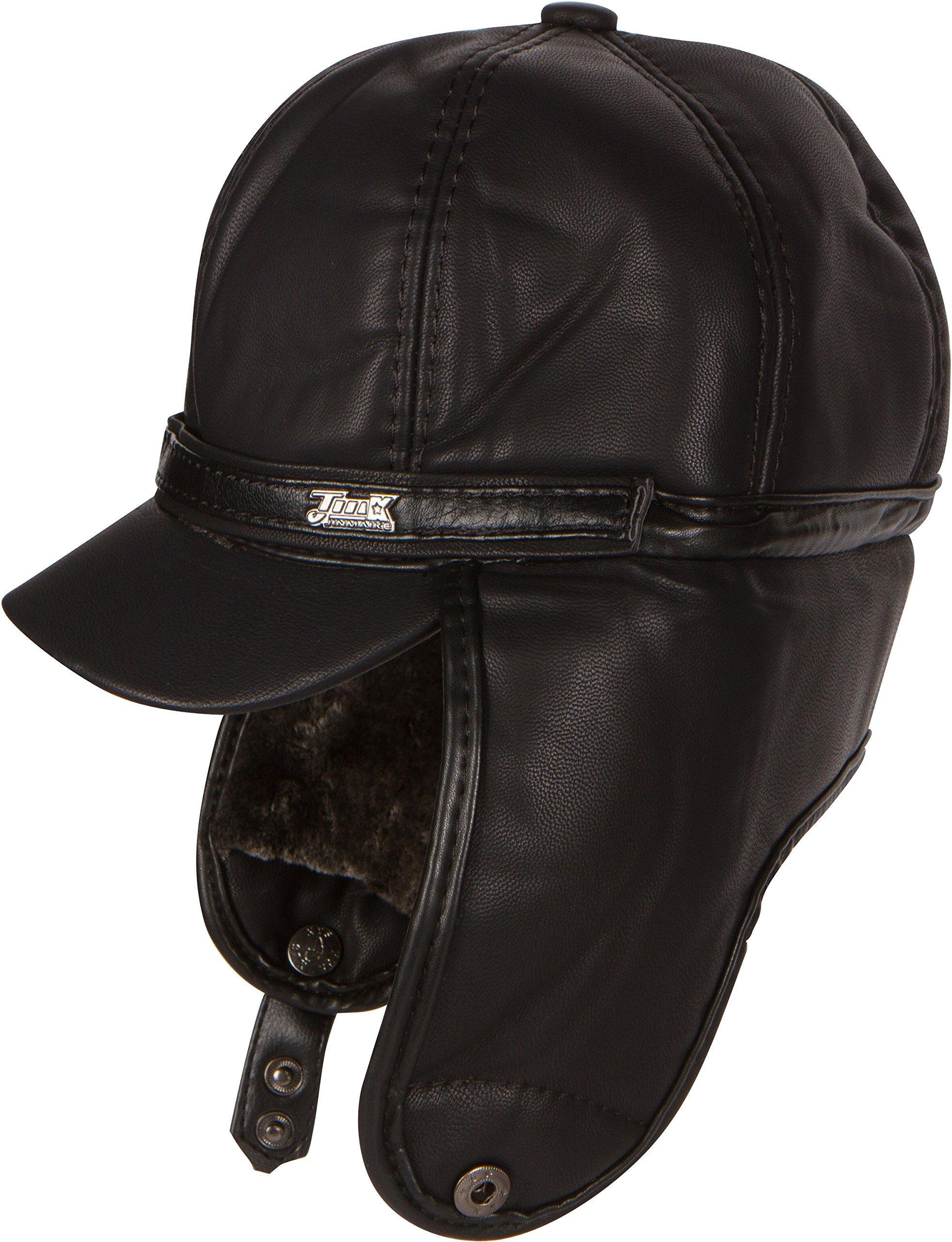 Sakkas 16158 - Leather Ushanka Faux Mink Fur Tropper Pilot Hat With Earflap - Black - L