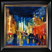 overstockArt La Pastiche Hand Painted Oil Reproduction, Street by Justyna Kopania with Black Satin King and Burnished Gold C