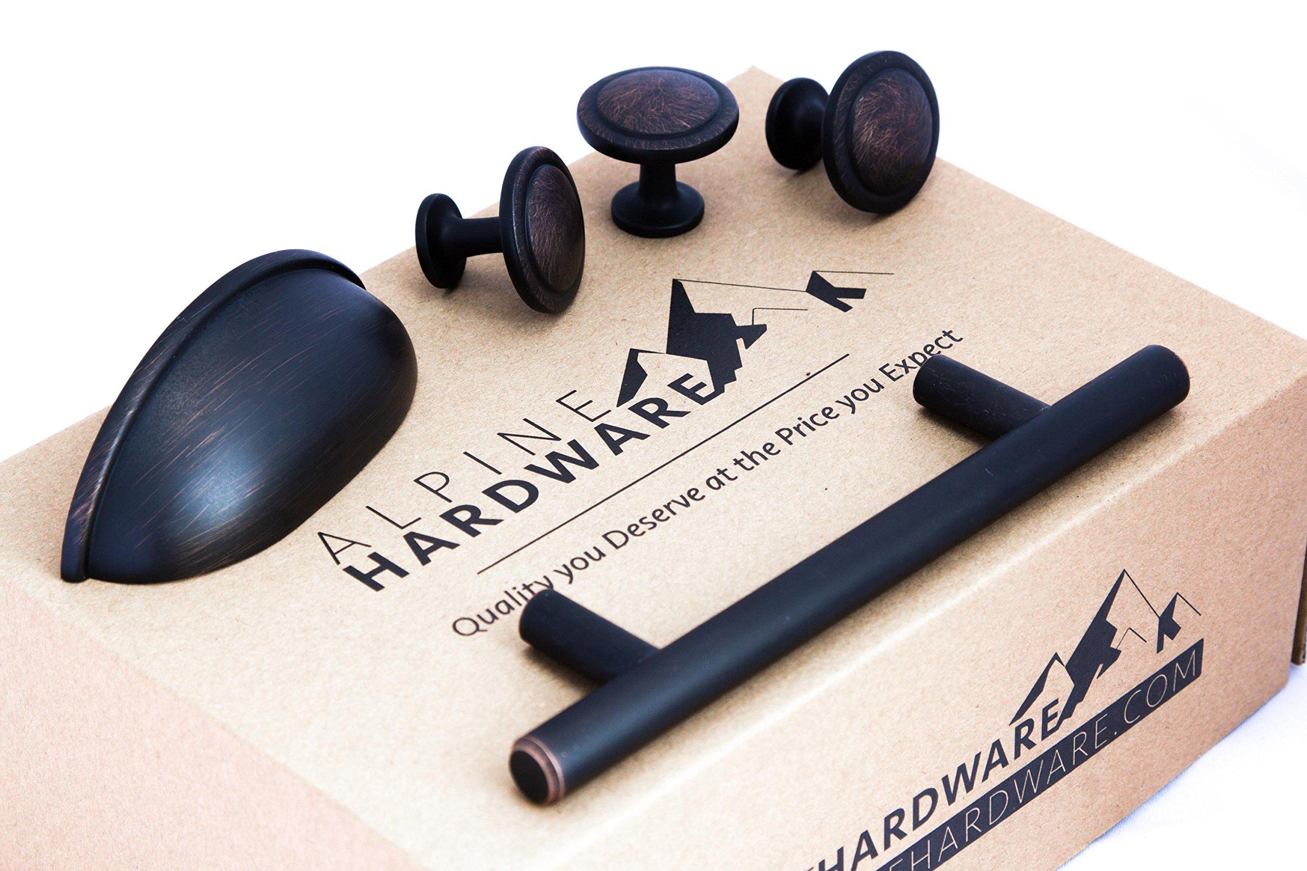 Alpine Hardware | 25Pack ~ 5'' (127mm) Hole Center | Bar Handle Pull with Matte Black Oil Rubbed Bronze Finish | Kitchen Cabinet Hardware/Dresser Drawer Handles