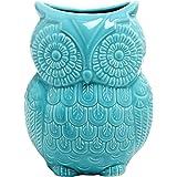 MyGift Large Owl Design Ceramic Cooking Utensil Holder, Kitchen Storage Crock, Aqua Blue