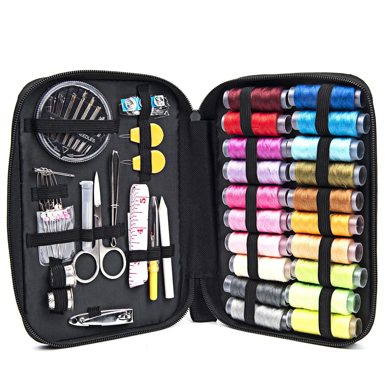 Sewing & Knitting Kit: 60 Piece Sewing Set (1) + Knitting & Crochet Starter Set (1) + Organizer Pouch (1) YazyCraft 2017-YC-24