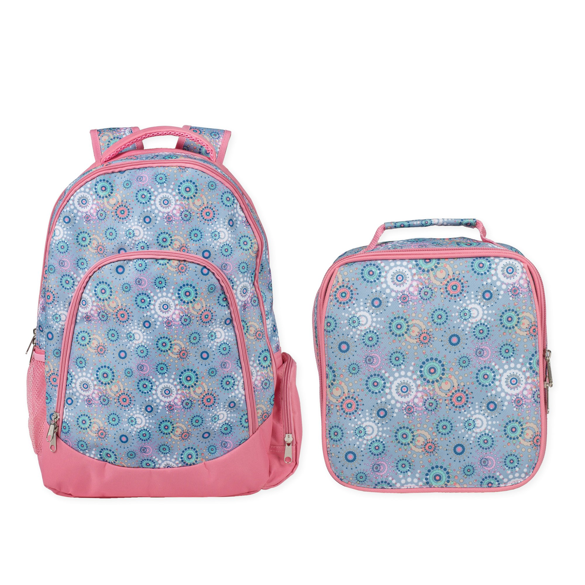 Reinforced Water Resistant School Backpack and Insulated Lunch Bag Set (1, Periwinkle Circle Dot)