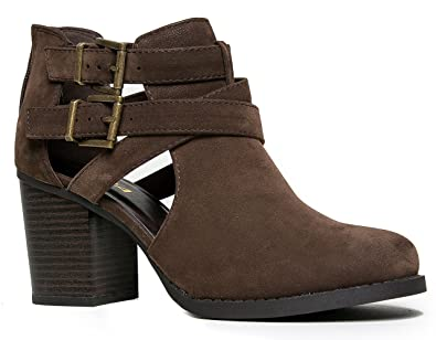 437a2b25c7eab J. Adams Sammi Ankle Bootie - Cut Out Buckle Low Stacked Wood Heel Western  Boot