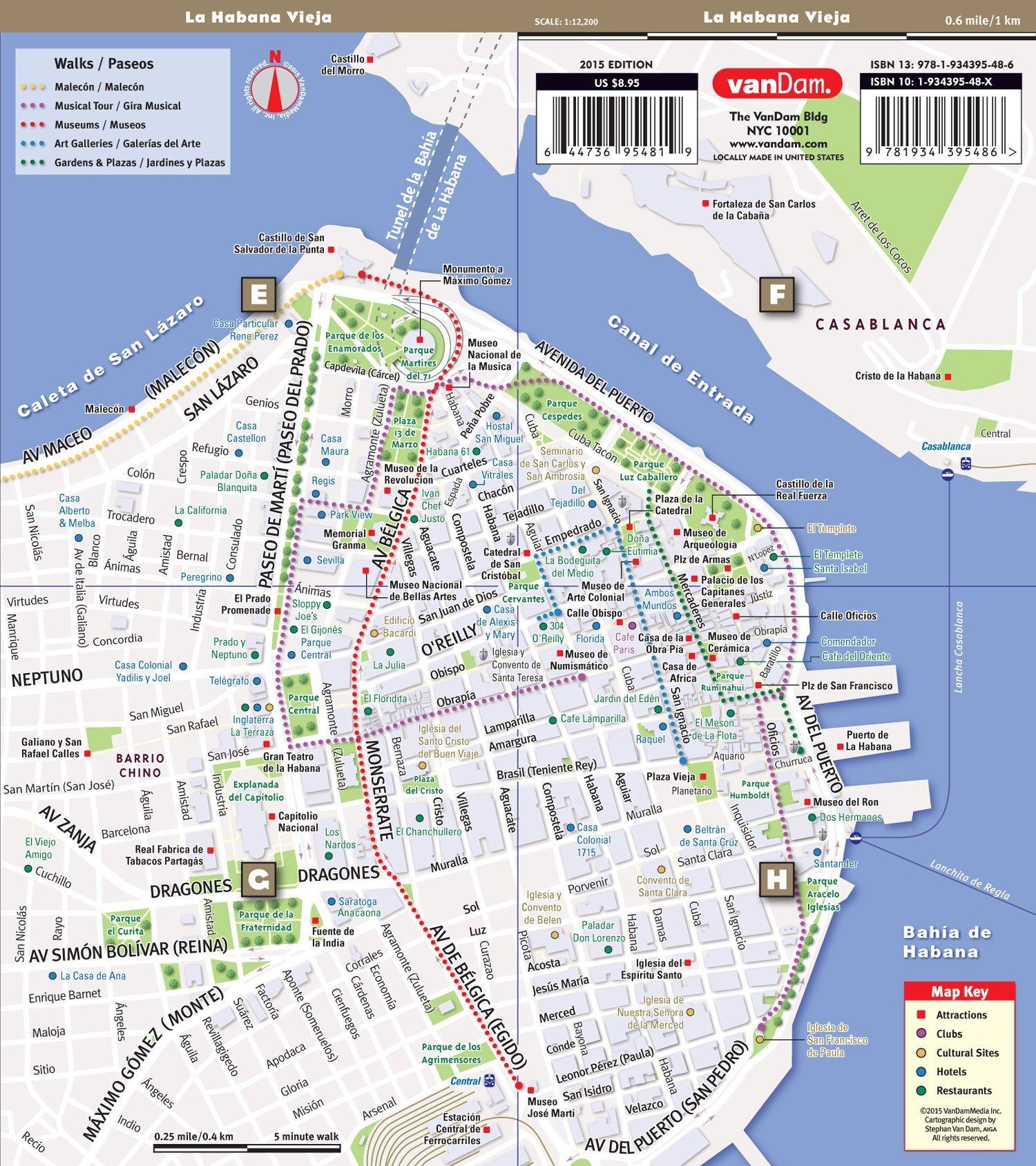 StreetSmart Havana Map by VanDam - City Street Map of Havana - Laminated  folding pocket size city travel map (English and Spanish Edition) 2018  Edition: ...