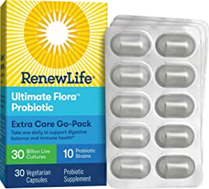 Renew Life Ultimate Flora Adult Extra Care Go-Pack Probiotic, 30 Billion, 30Count; (Pack May Vary) (Package May Vary)