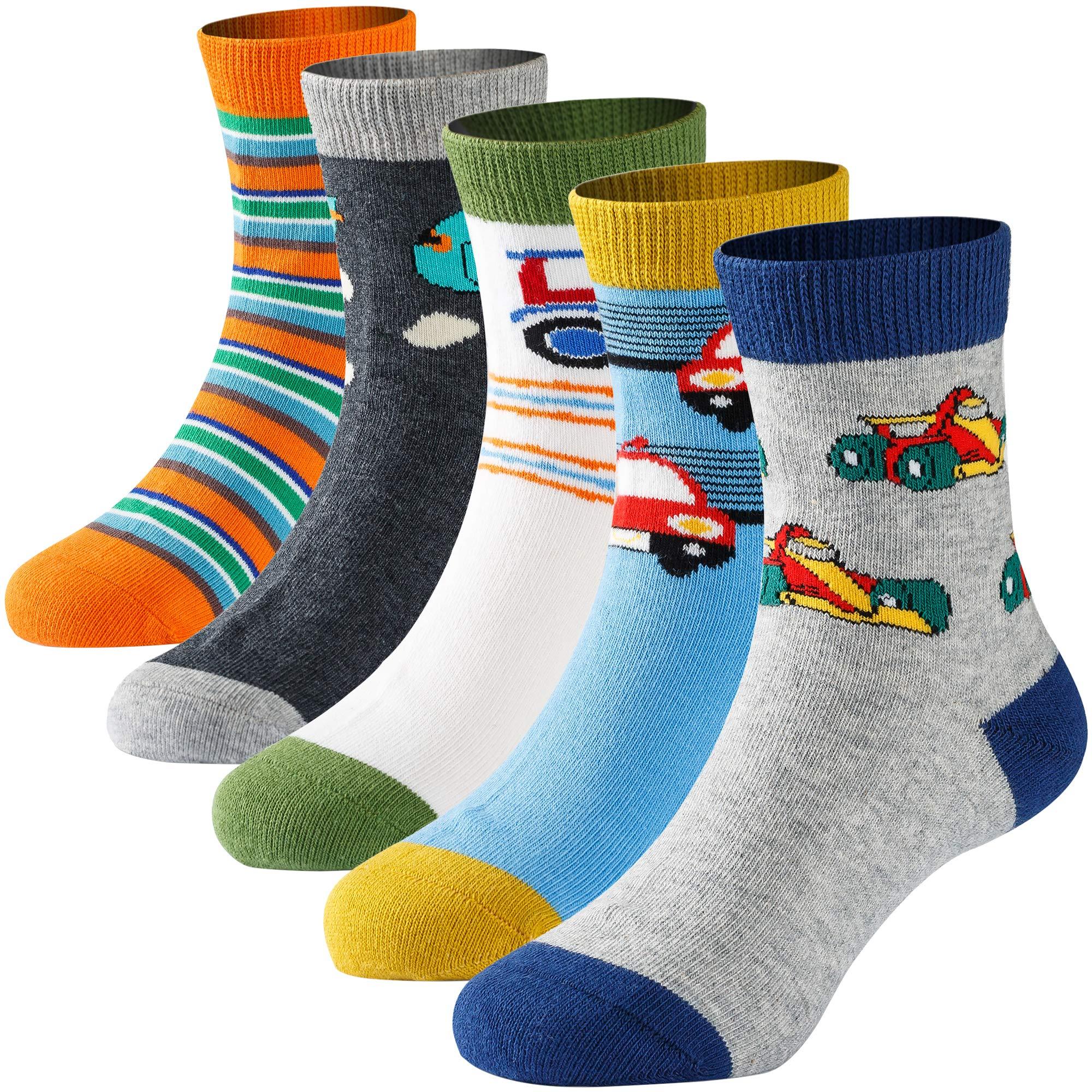 Boys' Crew Socks Kids Toddler Little Boys Fashion Seamless Cartoon Car Cotton Athletic Socks 5 Pairs Pack 3-5 Years