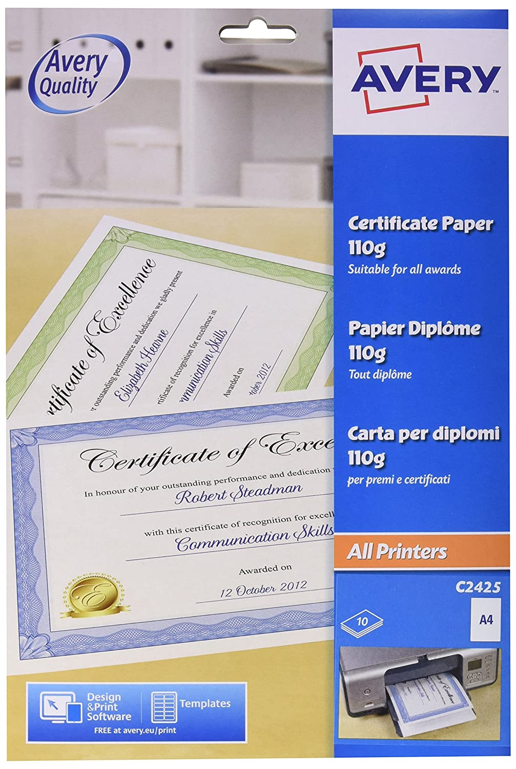 Avery uk c2425 a4 certificate paper blue certificate border 10 avery uk c2425 a4 certificate paper blue certificate border 10 a4 sheets per pack amazon office products 1betcityfo Images