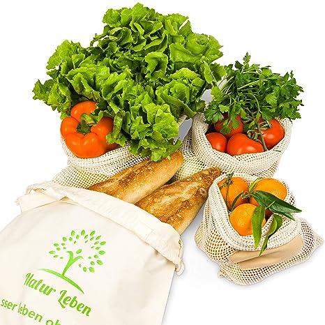 Natural Vida la Compra – Red Bolsas Reutilizables Verduras en Bolsa de 4 Unidades con Pan