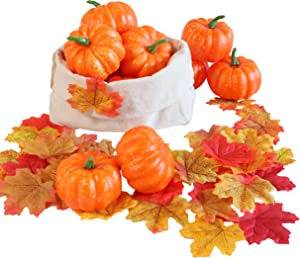 Hanizi 12 Pack Mini Realistic Pumpkins with 30 PCS Maple Leaves Artificial Vegetables for Table Decor Fall Wedding Halloween Thanksgiving Party