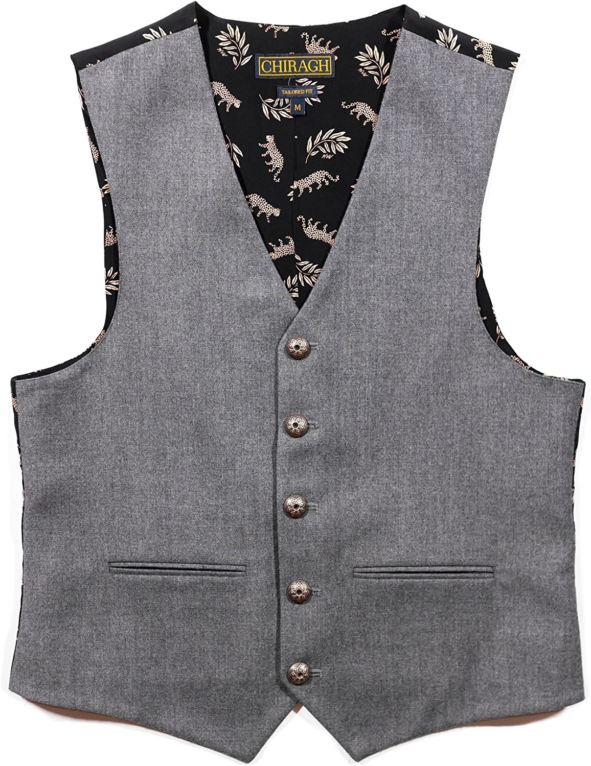 Chiragh Apparel Anastasia Mens V-Neck Tailored Fit 5 Button Dress Casual Vest Waistcoat
