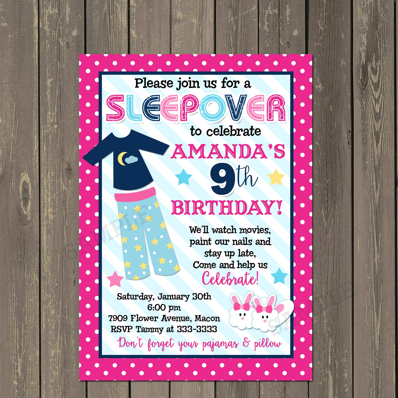 Amazon Sleepover Party Invitation Slumber Invite Pajama Birthday In Pink And Navy PJ Girls