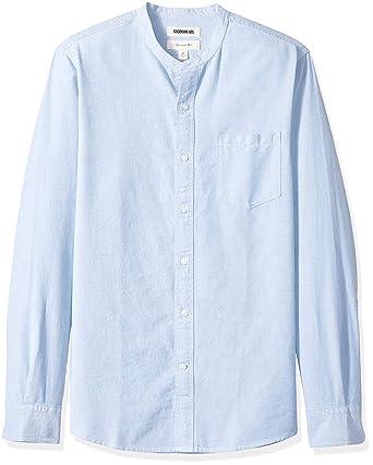 170b33c014677b Goodthreads Men's Slim-Fit Long-Sleeve Band-Collar Oxford Shirt, -blue
