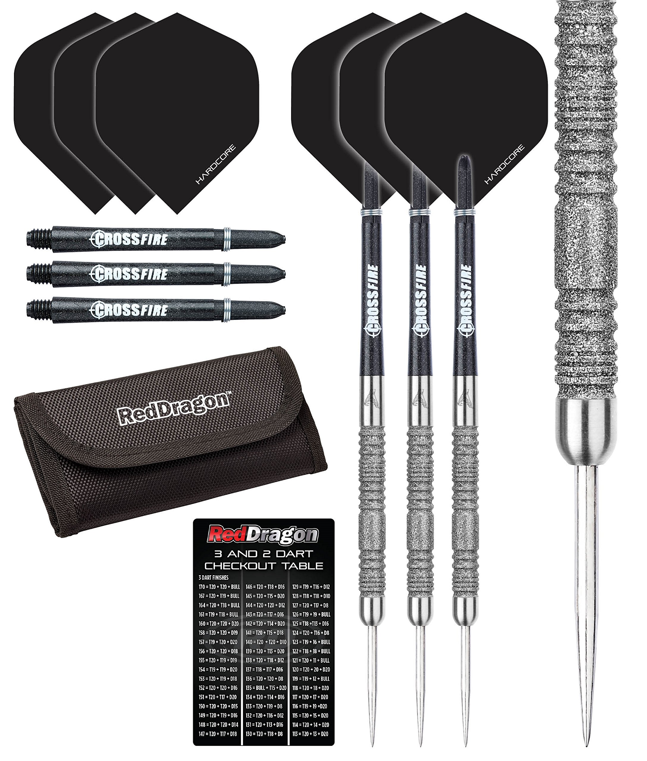 Red Dragon Peter Wright Snakebite 11 Element - 20 gram - Premium Tungsten Steel Darts with Hardcore Flights, Black Crossfire Carbon Fibre Shafts, RD Tri Fold Wallet & Red Dragon Checkout Card by Red Dragon Darts
