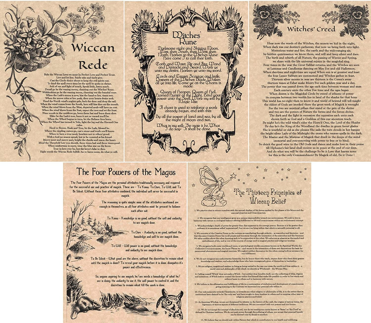 Amazon 5 Book of Shadows Pages Wiccan Rede Witches Creed