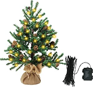 Joiedomi Mini Christmas Tree with Pine Cones with String Light, Prelit Mini Artificial Xmas Tree for Christmas Decorations