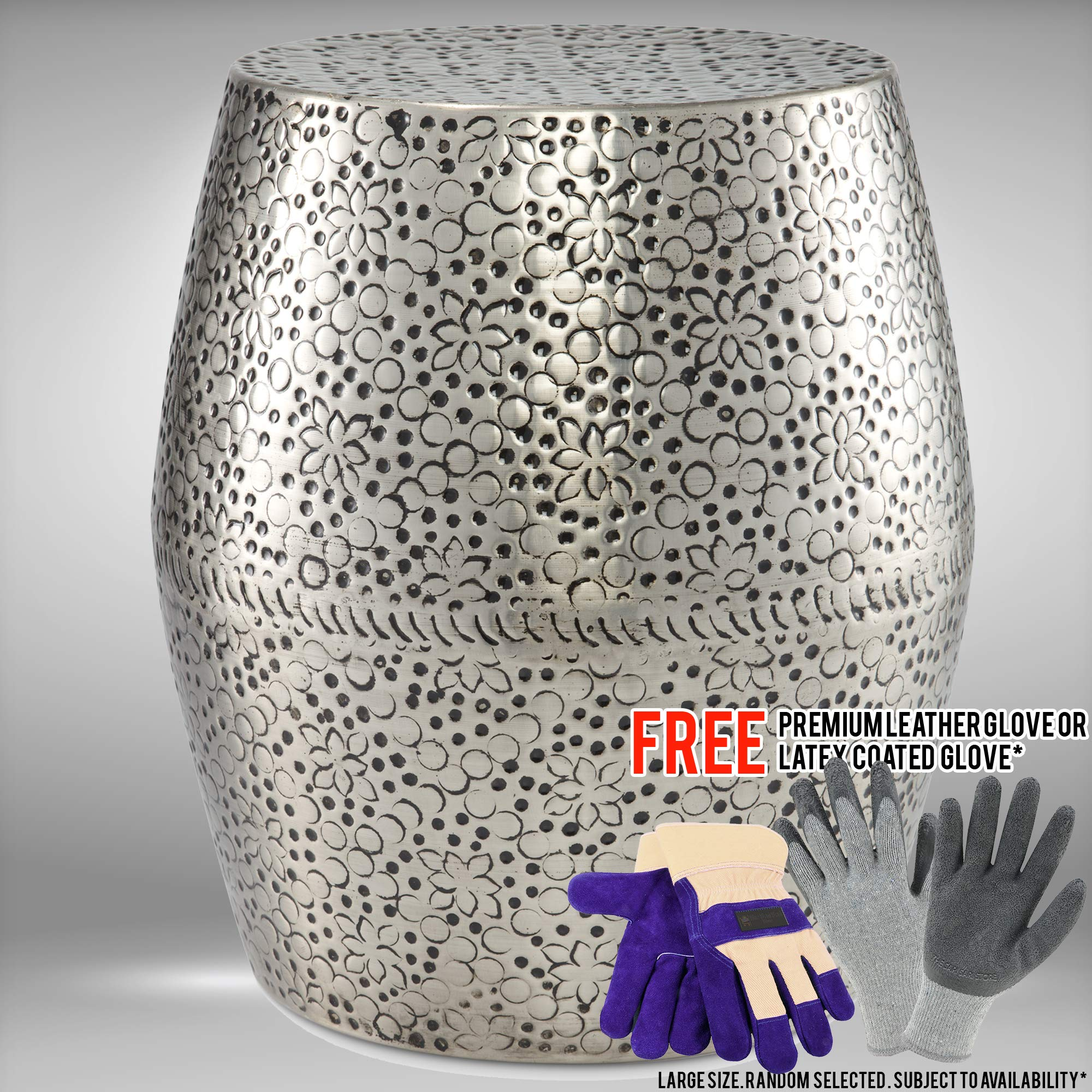 19'' Bisbee Metal Garden Stool Bundled with Free Premium Cowhide Leather Palm Gloves or Latex-Coated Gloves