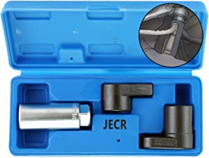 """Oxygen Sensor Socket Remover Tool Set - 3 Piece Universal o2 Sockets Wrench Tool Kit - 7/8, 1/2, and 3/8 Inch Drive for 02 Sensors – 1 Vacuum Switch Socket & 2 Puller Sockets Wrench Kit – 7/8"""""""