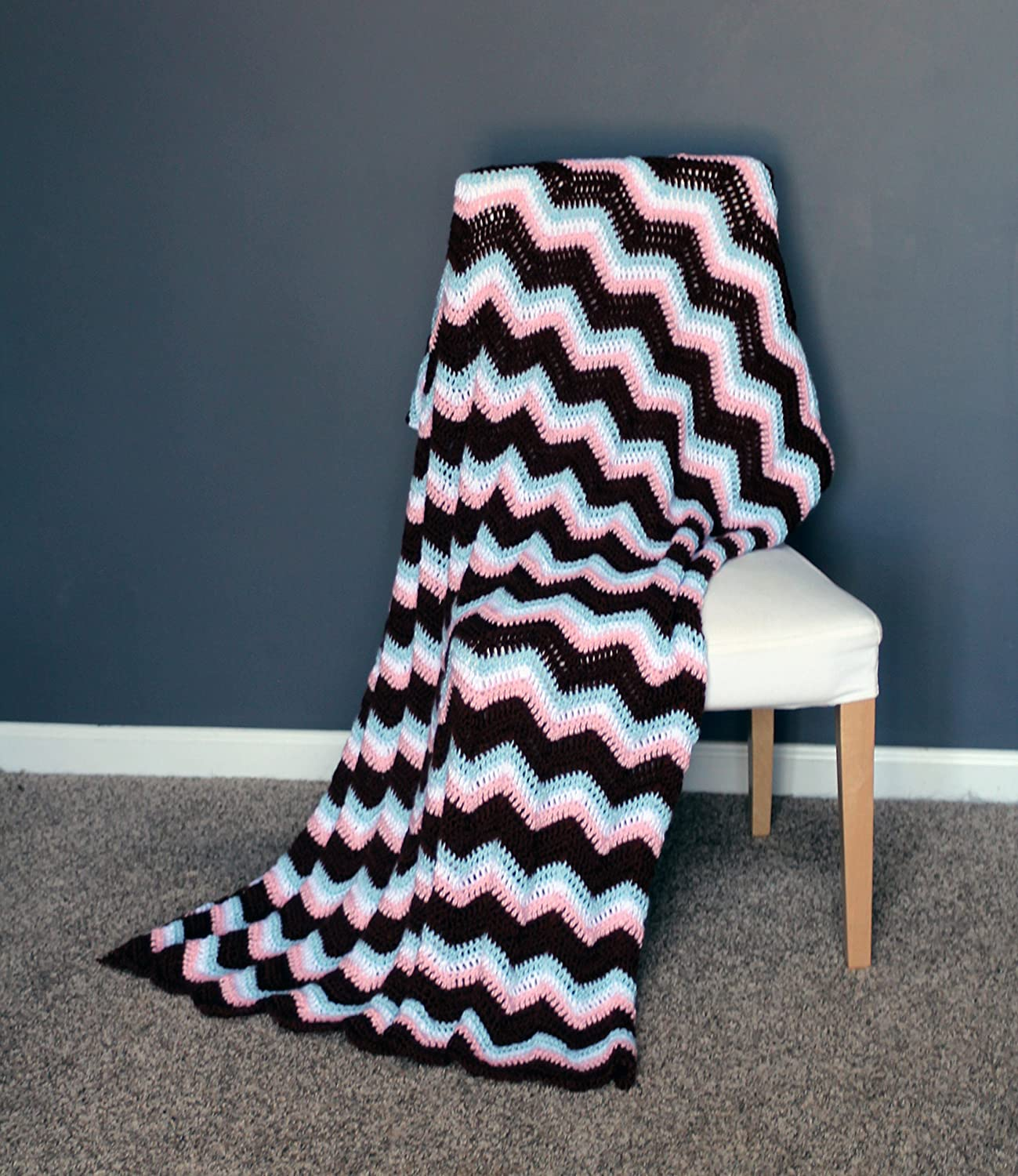 Image of Chevron Afghan Throw Blanket Crochet - Light Pink, Light Blue, White, and Brown Chevron Afghan Striped Ripple Zig Zag - Ready To Ship Home and Kitchen