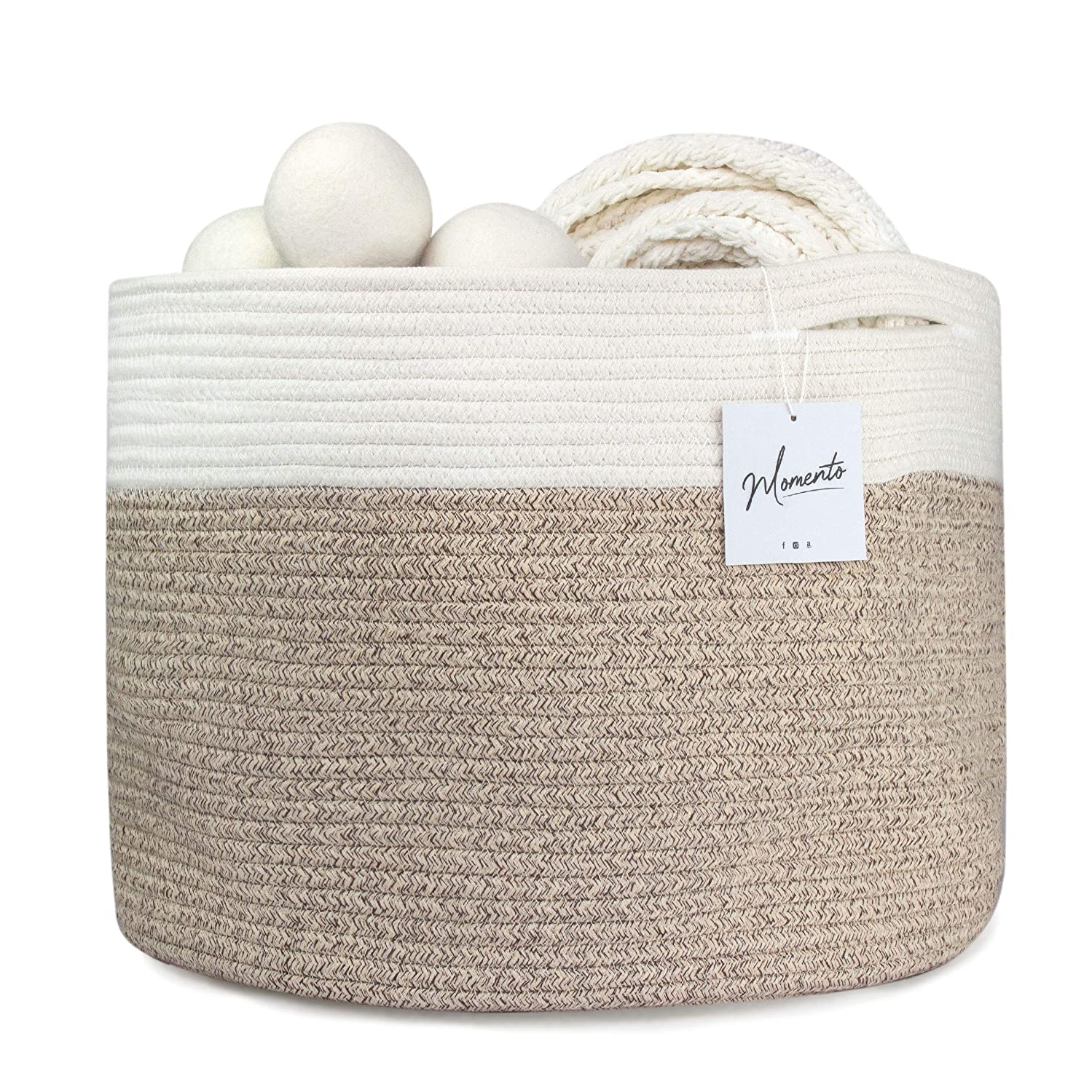 "Cotton Rope Storage Basket 20"" x 20"" x13"" - XX Large Rope Basket - Blanket Storage - Pillow Basket - Rope Laundry Basket - Large Blanket Basket - Basket for Toys - Towel Basket 
