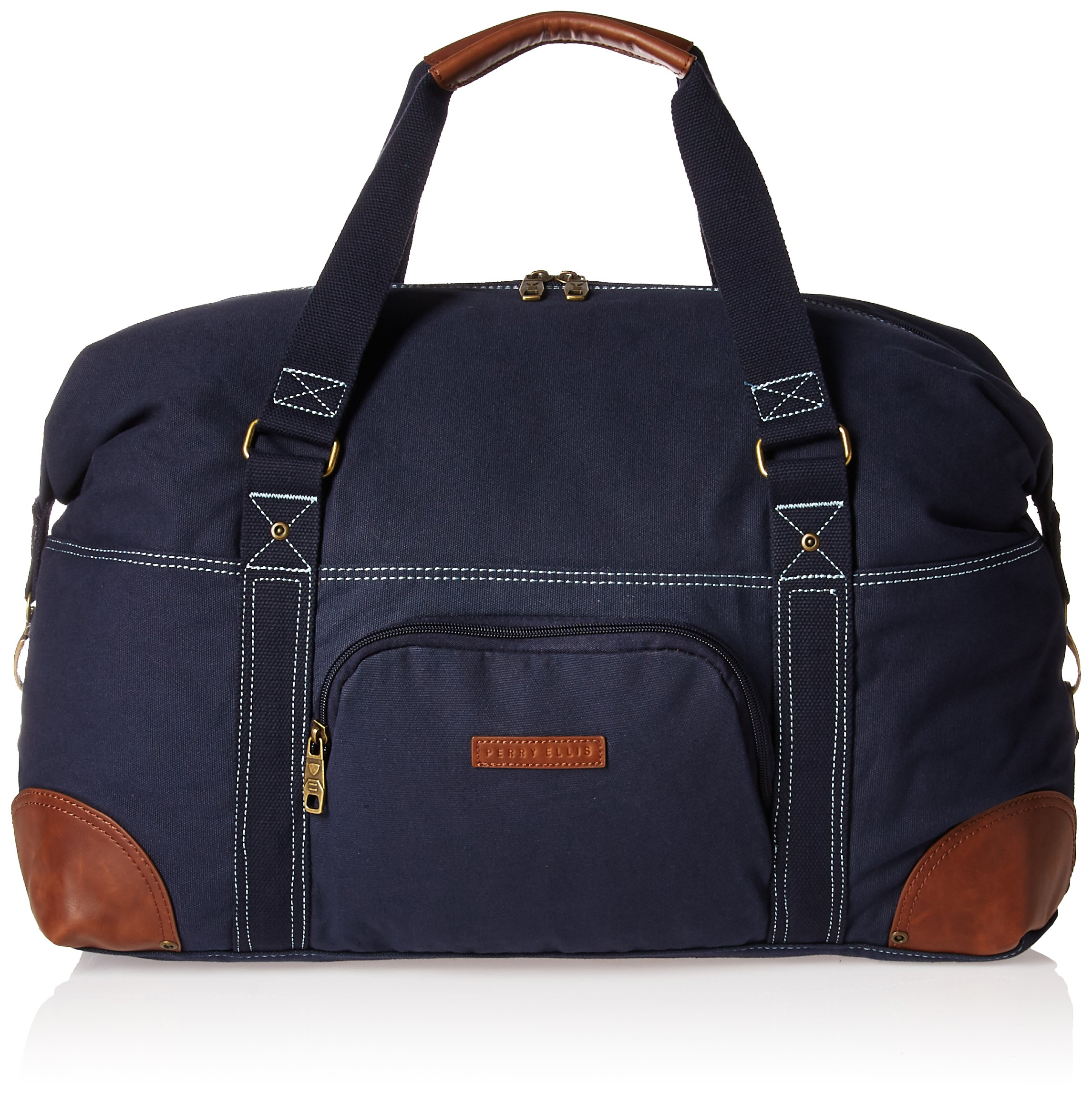 Perry Ellis 22'' Carry Canvas Bag Weekend Duffel, Navy, One Size