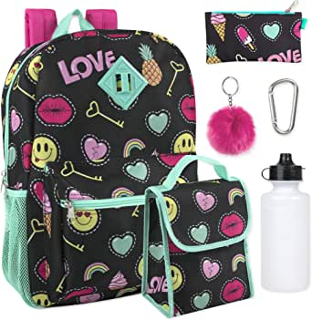 Girl's 6 in 1 Backpack Set with Lunch Bag, Pencil Case, Bottle, Keychain, Clip