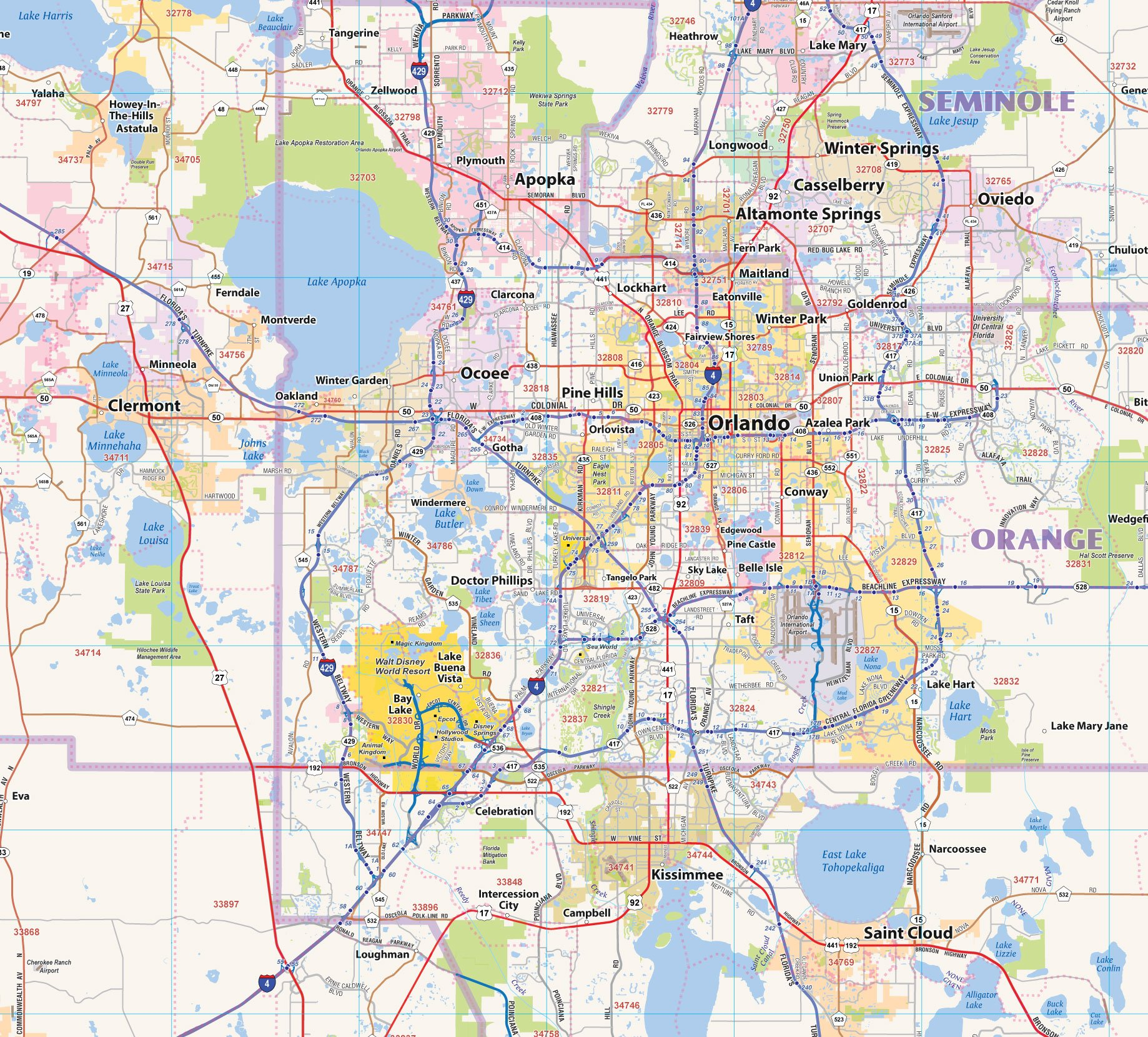 Central Florida Laminated Wall map (60''Wx48''L) by Topographics (Image #2)
