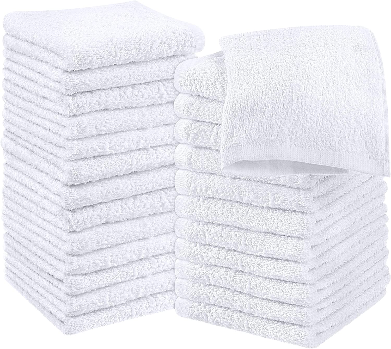 Amazon Com Utopia Towels Cotton White Washcloths Set Pack Of 24 100 Ring Spun Cotton Premium Quality Flannel Face Cloths Highly Absorbent And Soft Feel Fingertip Towels Home Kitchen