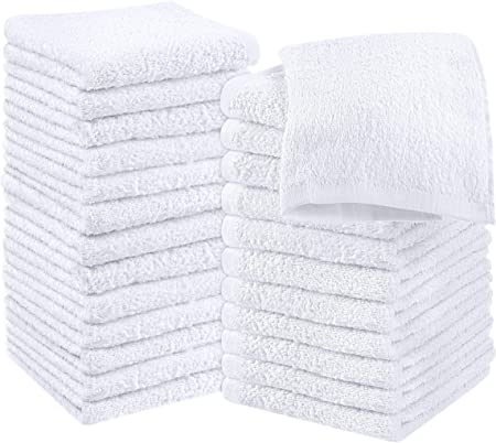 "1LB GYMS//SPAS 2-WHITE 12/"" x 12/"" BATHROOM WASH//FACE CLOTH 100/% COTTON TWO EACH"