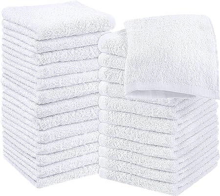 Utopia Towels - 24 Toallas para la Cara de algodón, Paños de algodón (30 x 30 cm) (Blanco): Amazon.es: Hogar