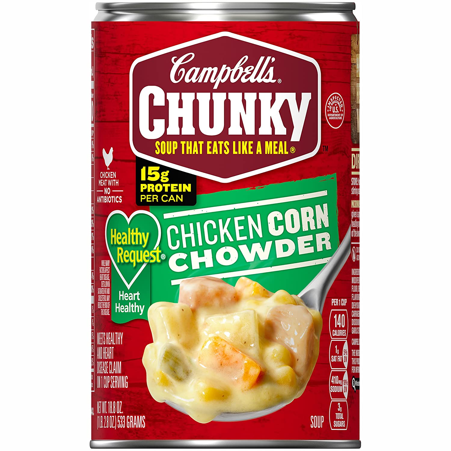 Campbell's Chunky Healthy Request Soup, Chicken Corn Chowder, 18.8 Ounce (Pack of 12)