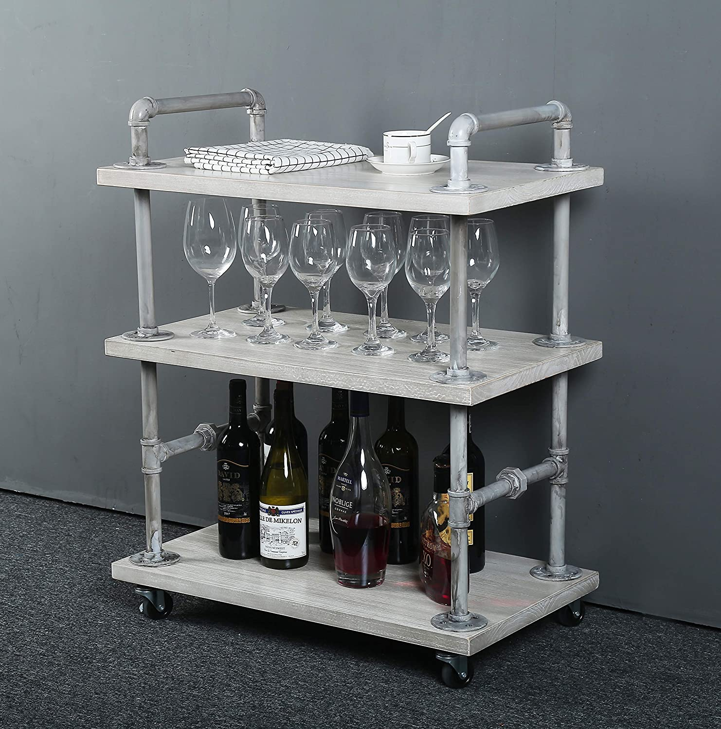 WGX Design For You Solid Wood and Pipe Wine Rack with Wheels Kitchen Bar Dining Room Tea Wine Holder Serving Cart Furniture White