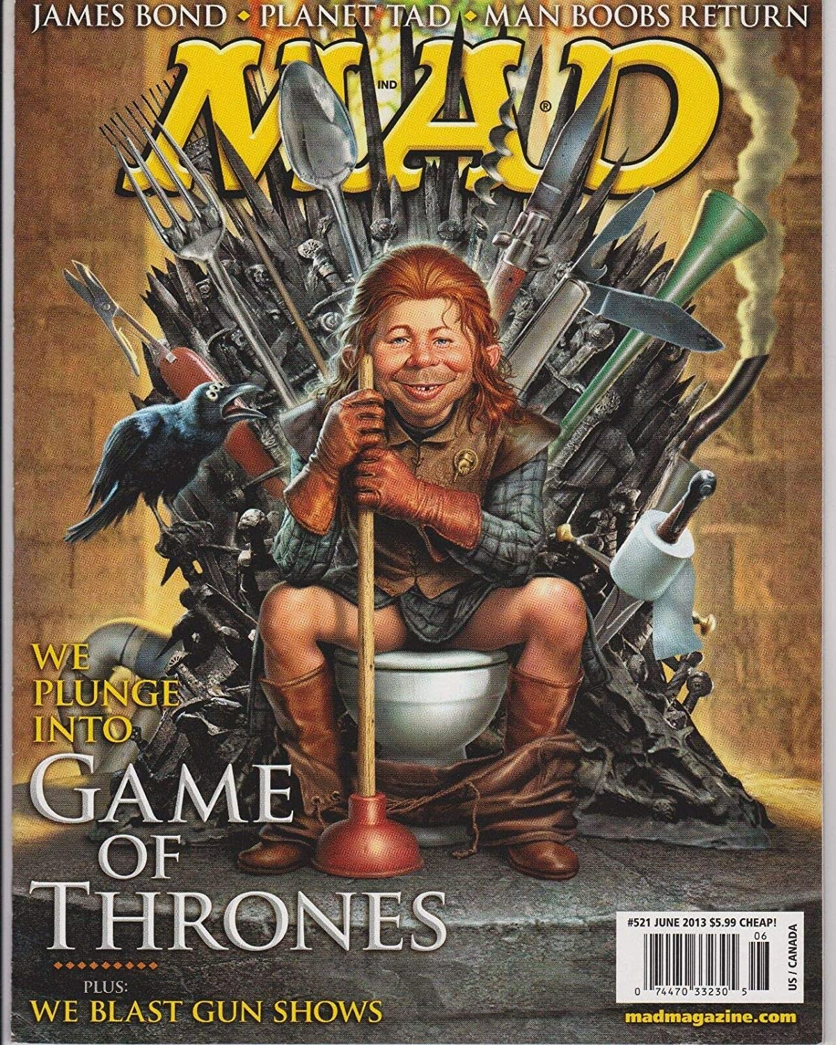 MAD MAGAZINE #521 June 2013, Game of Thrones, James Bond, NO LABLE