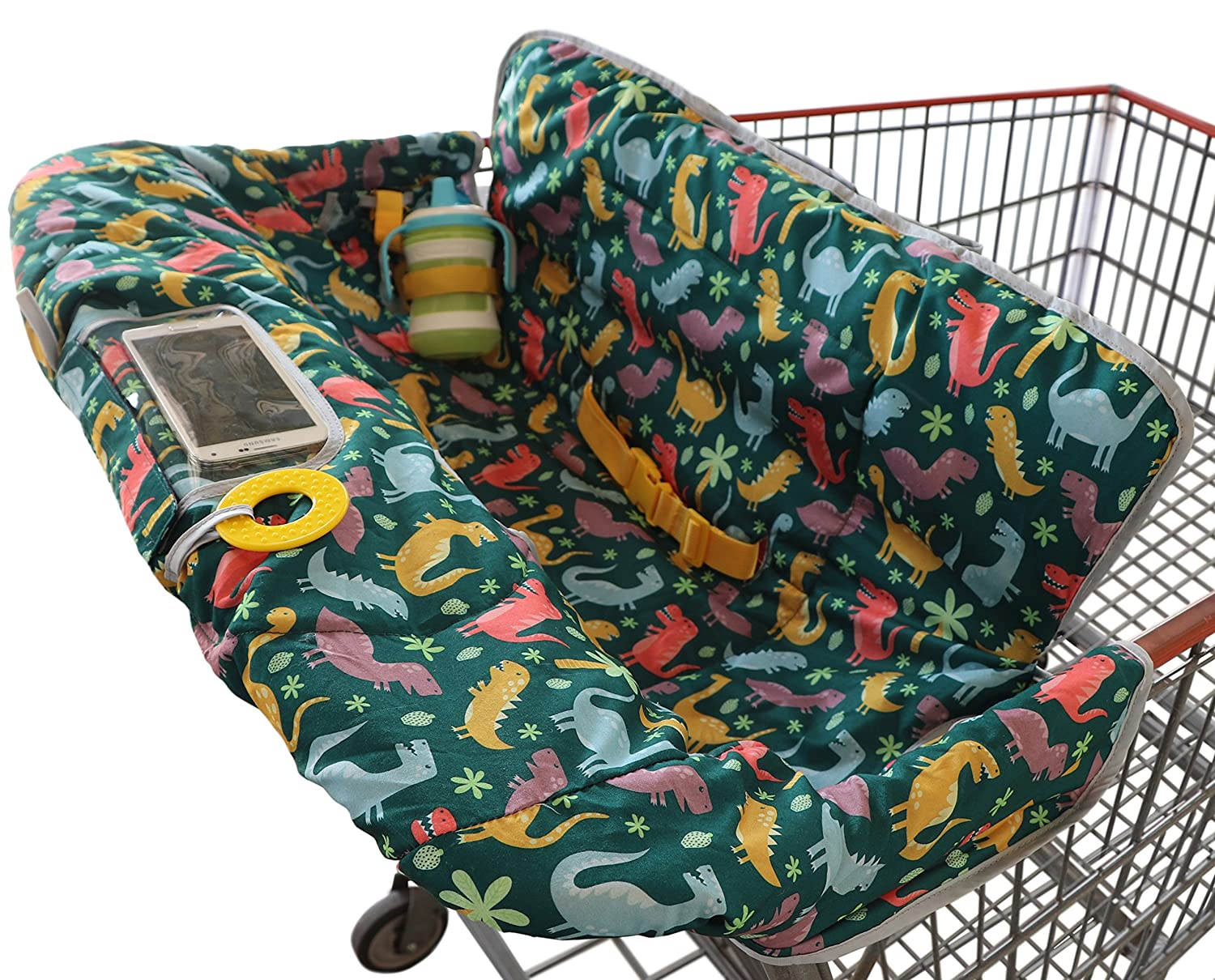 Shopping Cart Cover for Baby or Toddler | 2-in-1 High Chair Cover | Universal Fit for Boy or Girl | Includes Carry Bag | Machine Washable | Fits Restaurant Highchair (Dinosaurs) Suessie