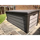 Keter Brushwood XL Size, 120 Gallon Outdoor Garden Patio Storage Furniture Deck Box Stunning Wood Look Plastic