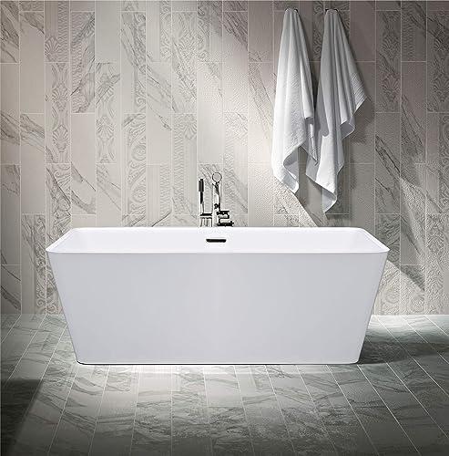 Empava 59″ Freestanding Luxury Acrylic Soaking SPA Tub Modern Stand Alone Bathtubs Model 2021