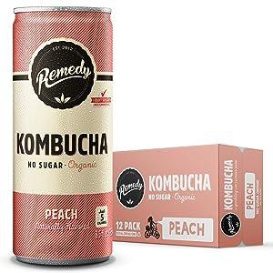 Remedy Raw Organic Kombucha Tea - Sparkling Live Cultured Drink - Sugar Free Peach - 8.5 Fl Oz Can, 12-Pack