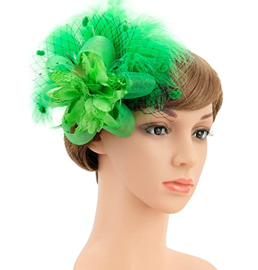 tea party hair clip feather derby fascinator hat for women and girls bridal shower 20s headpiece