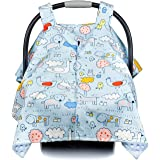 Premium Baby Carseat Canopy and Nursing Cover 2-in-1 | All Season, Warm, Windproof, Sun and Bug Protection, Fits All Car Seats, Boy Or Girl |Animal Adventure Print with Minky Fabric