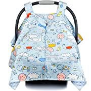 Premium Baby Carseat Canopy and Nursing Cover 2-in-1 | All Season, Warm, Windproof, Sun and Bug Protection, Fits All Car Seats, Boy or Girl | Animal Adventure  Print with Minky Fabric