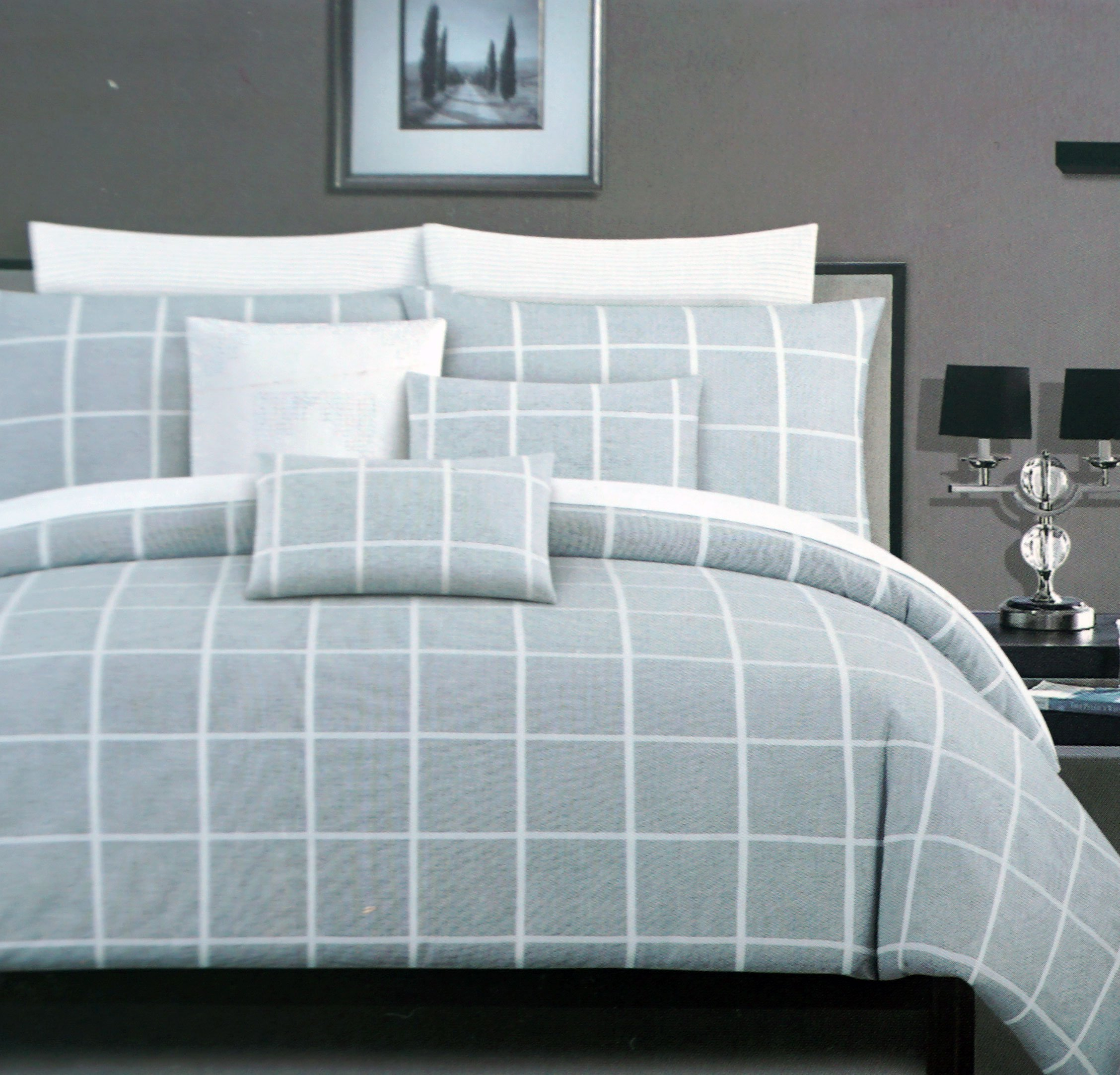 Tahari Bedding 3 Piece Full / Queen Duvet Cover Set Modern Geo Squares Textured Woven White Stripes Crosshatch Window Pane Plaid on a Background of White Gray Thread Mesh