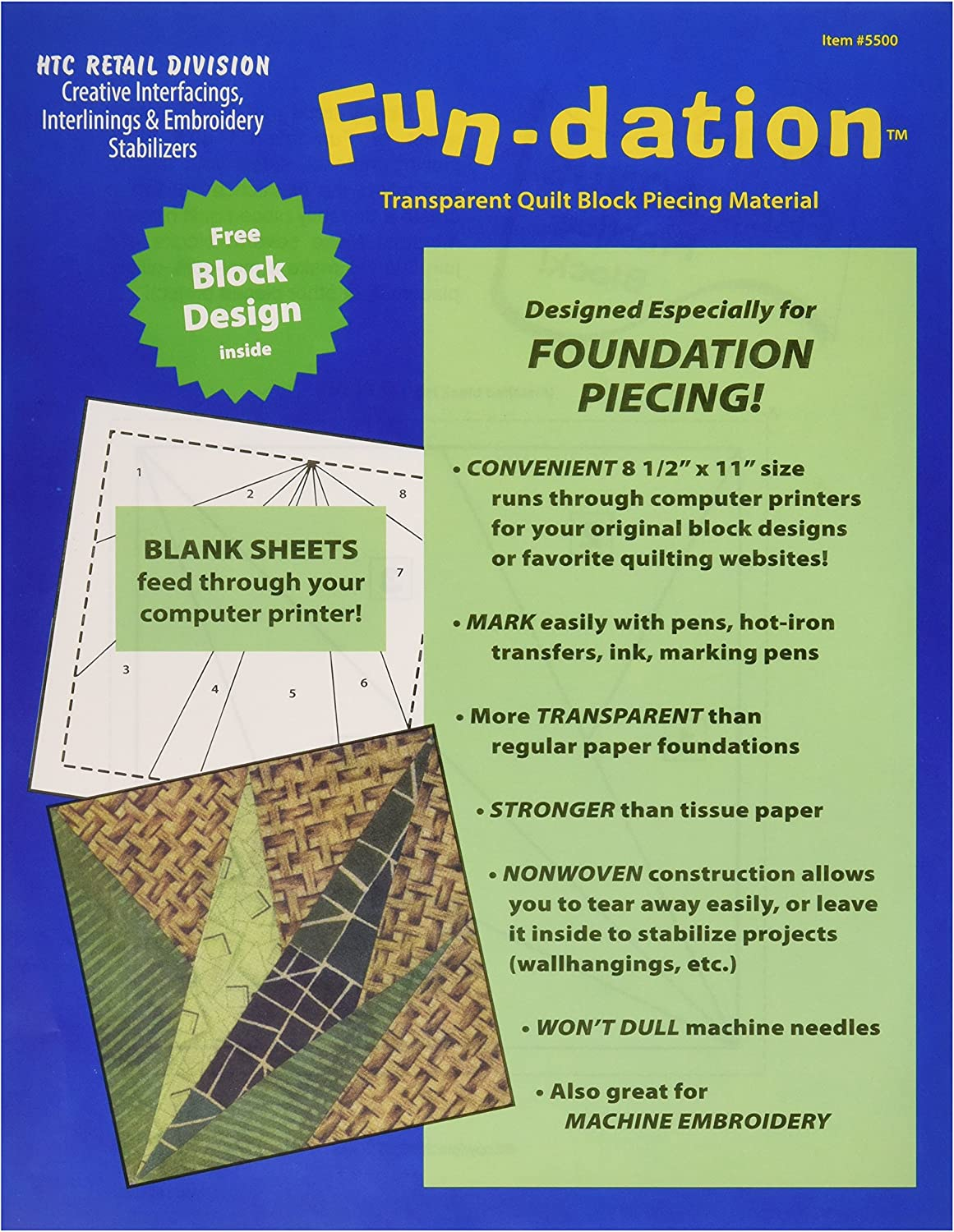 HTC 5500 Fun-Dation Quilt Block Piecing Material 25-Pack 8-1//2 by 11-Inch