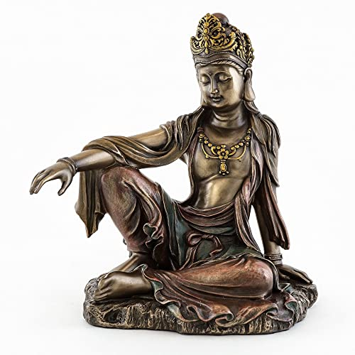 Top Collection H 7.25 W 6.5 Water Moon Quan Yin in Royal Ease Pose Statue in Cold Cast Bronze – Goddess of Mercy Buddha Statue