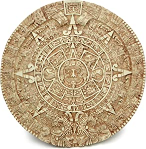 Culture Spot Aztec Solar Calendar Wall Art Relief with Stone Finish | 17 Inches Diameter