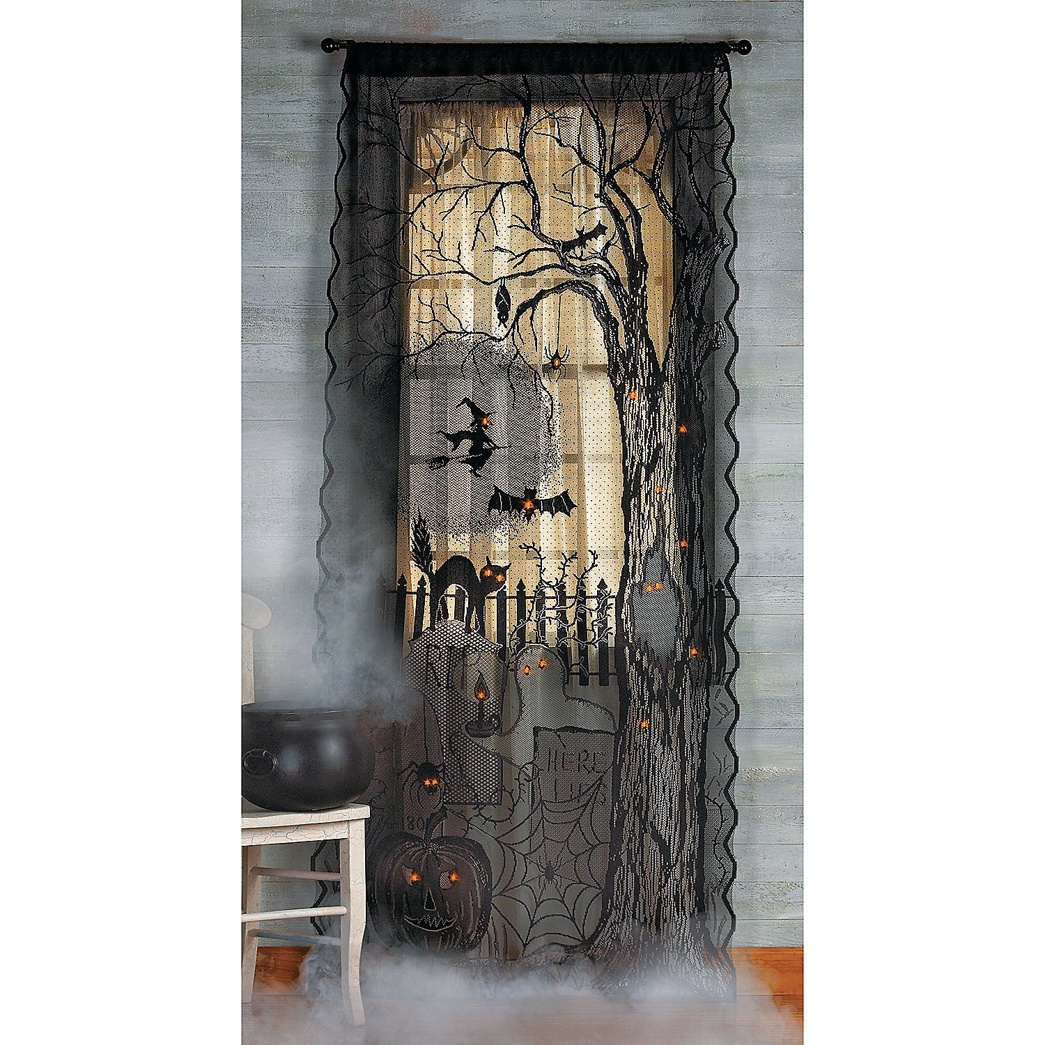 amazoncom halloween spooky lighted lace curtain panel home u0026 kitchen