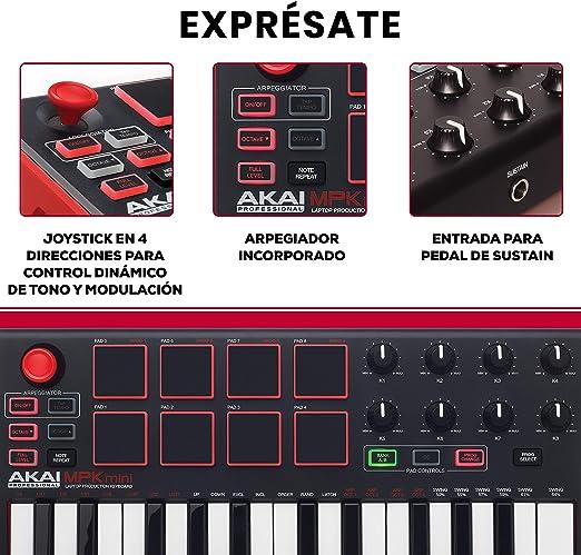 AKAI Professional MPK MINI MKII - Teclado controlador MIDI USB portátil con 25 teclas, 8 pads MPC, 8 potenciómetros, joystick, VIP 3 y paquete de ...