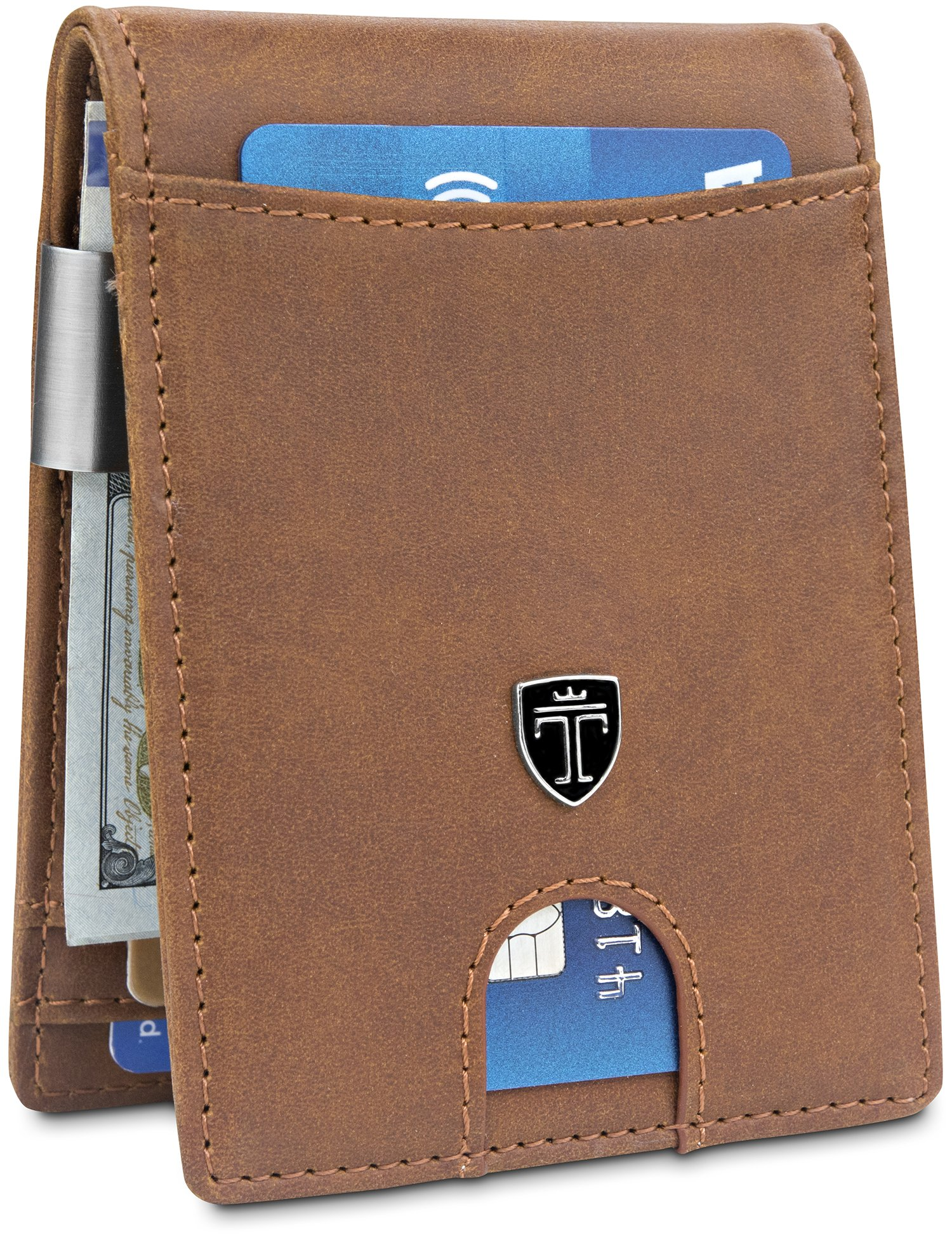 Money Clip Wallet''HOUSTON'' Mens Wallet RFID Blocking Credit Card Holder | Travel Wallet | Minimalist Mini Slim Wallet Bifold for Men with Gift Box TRAVANDO