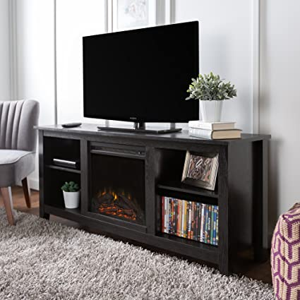 Amazon Com New 58 Inch Tv Stand With Fireplace In Black Finish