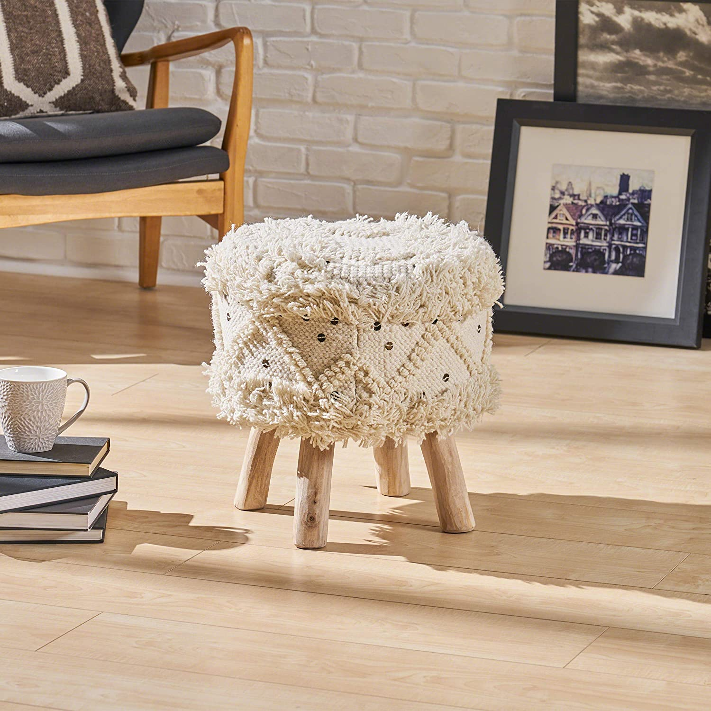 Great Deal Furniture 306018 Mosiac Wool Boho Stool, Ivory, Natural Finish