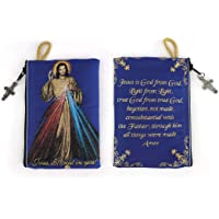 """Catholic Rosary Pouch, Jewelry, Coin Purse with Cross, 4"""" x 6"""" Small Woven Tapestry Icon, Trinket & Necklace Holder…"""